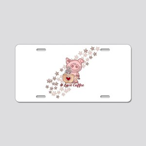 Piglet Loves Coffee Aluminum License Plate