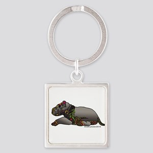 Zentangle Baby Hippo Square Keychain