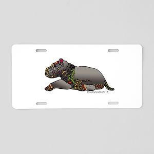 Zentangle Baby Hippo Aluminum License Plate