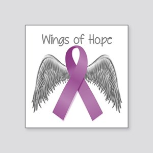 "Wings of Hope in Purple Square Sticker 3"" x 3"""