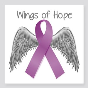 "Wings of Hope in Purple Square Car Magnet 3"" x 3"""