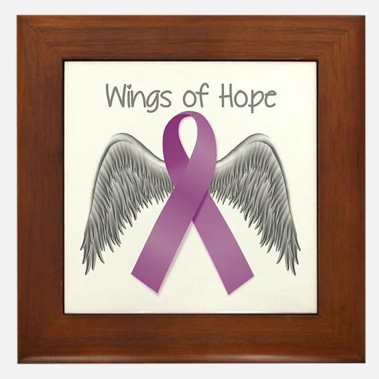 Wings of Hope in Purple Framed Tile