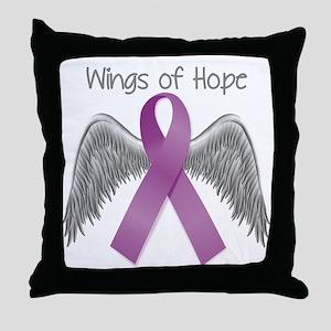 Wings of Hope in Purple Throw Pillow