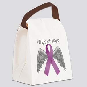 Wings of Hope in Purple Canvas Lunch Bag