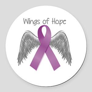 Wings of Hope in Purple Round Car Magnet