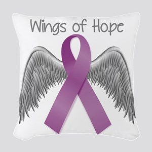 Wings of Hope in Purple Woven Throw Pillow