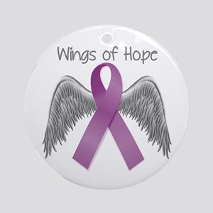Wings of Hope in Purple Round Ornament