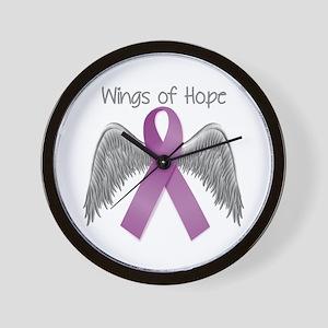 Wings of Hope in Purple Wall Clock