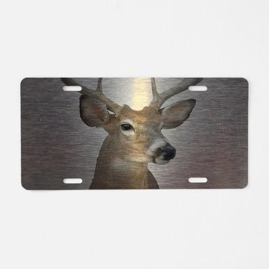 grunge texture western deer Aluminum License Plate