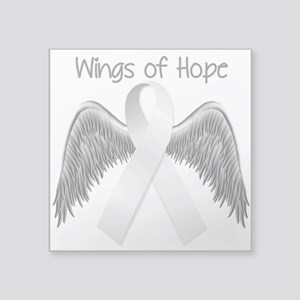 """Wings of Hope Silver Square Sticker 3"""" x 3"""""""