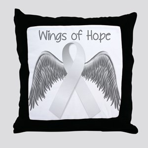 Wings of Hope Silver Throw Pillow