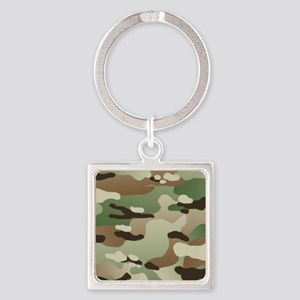 Woodland Camouflage Pattern Square Keychain