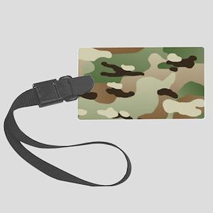 Woodland Camouflage Pattern Large Luggage Tag
