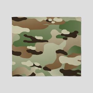 Woodland Camouflage Pattern Throw Blanket