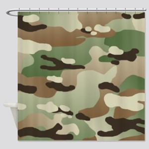 Woodland Camouflage Pattern Shower Curtain
