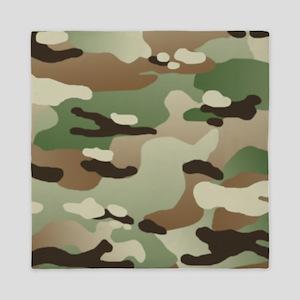 Woodland Camouflage Pattern Queen Duvet