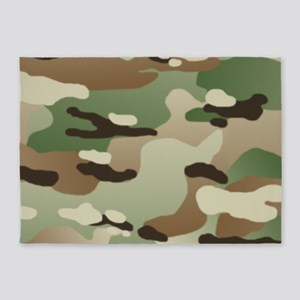 Woodland Camouflage Pattern 5'x7'Area Rug