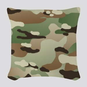 Woodland Camouflage Pattern Woven Throw Pillow