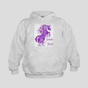 Horses Rock- Purple (Front) Kids Hoodie