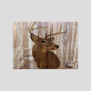 rustic western country deer 5'x7'Area Rug