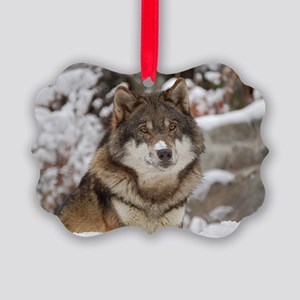 Winter Wolf Picture Ornament