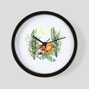 Cute Fox in Grasses Wall Clock