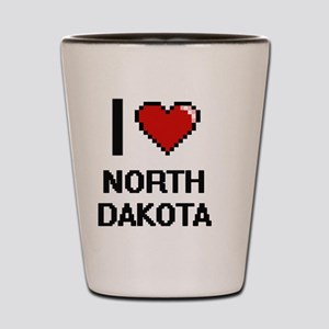 I Love North Dakota Digital Design Shot Glass
