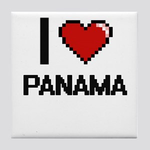 I Love Panama Digital Design Tile Coaster
