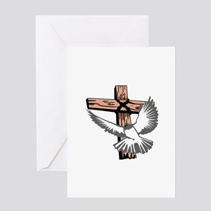 CROSS AND DOVE Greeting Cards