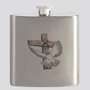 CROSS AND DOVE Flask