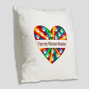 Miniature Pinscher Love Burlap Throw Pillow
