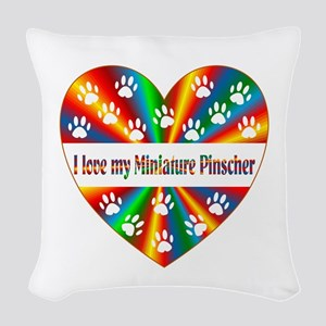 Miniature Pinscher Love Woven Throw Pillow