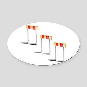 Race Hurdles Oval Car Magnet