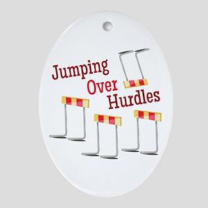 Jumping Hurdles Oval Ornament