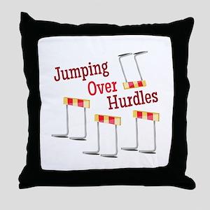 Jumping Hurdles Throw Pillow