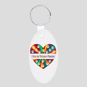 Miniature Pinscher Love Aluminum Oval Keychain