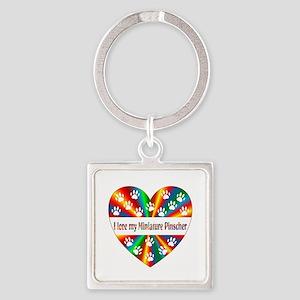 Miniature Pinscher Love Square Keychain