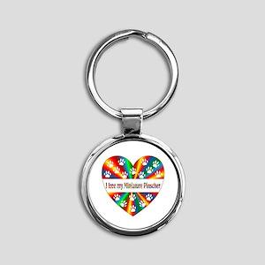 Miniature Pinscher Love Round Keychain