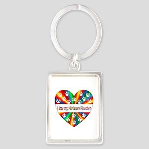 Miniature Pinscher Love Portrait Keychain