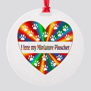Miniature Pinscher Love Round Ornament
