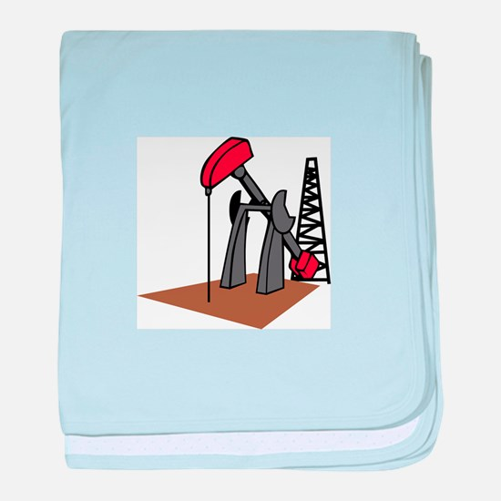 OIL RIG AND DERRICK baby blanket