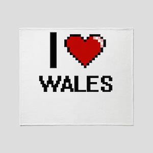 I Love Wales Digital Design Throw Blanket