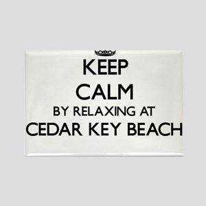 Keep calm by relaxing at Cedar Key Beach F Magnets
