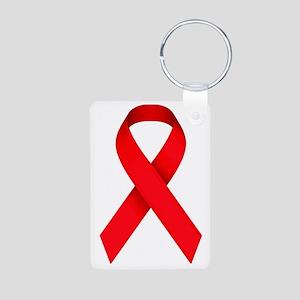 Red Awareness Ribbon Aluminum Photo Keychain