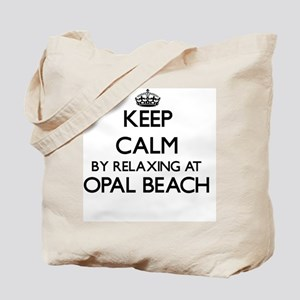 Keep calm by relaxing at Opal Beach Flori Tote Bag