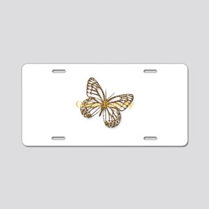Cute Gold Butterfly Aluminum License Plate