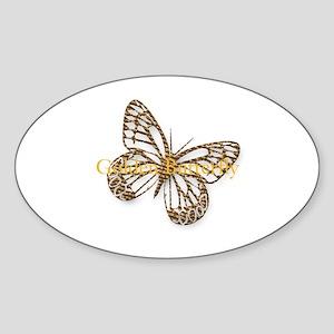 Cute Gold Butterfly Sticker (Oval)