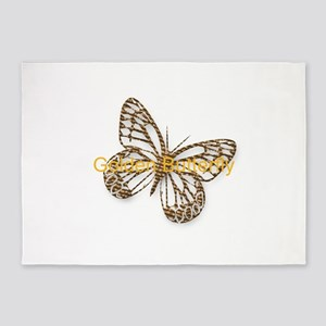 Cute Gold Butterfly 5'x7'Area Rug