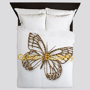 Cute Gold Butterfly Queen Duvet