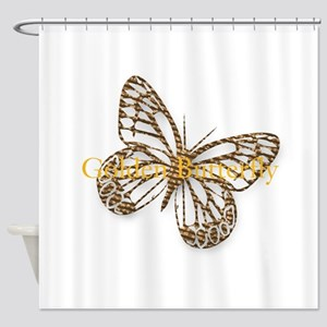Cute Gold Butterfly Shower Curtain